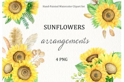 Sunflowers arrangements watercolor boho clip art. Summer flowers.