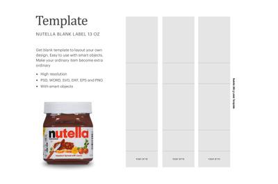 """Nutella 13oz Bottle Label , Paper Size 8.5"""" x 11"""""""