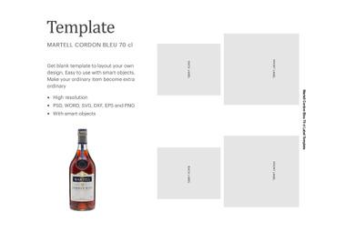 "Martell Cordon Blue 70cl Sticker Label, Paper Size 8.5"" x 11"""