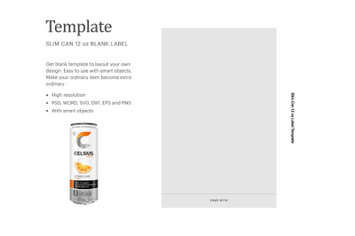 "Custom Slim Can 12oz Label, Paper Size 8.5"" x 11"""