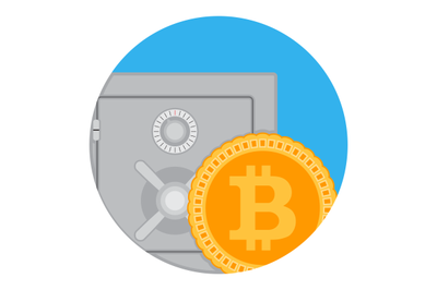 Savings and accumulation of bitcoin icon flat app