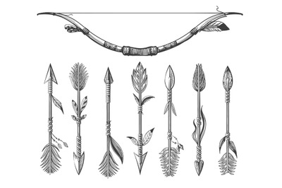 Hand Drawn Native Americans Arrows and Bow Set