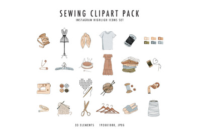 Sewing knitting craft clipart, handmade business  icons