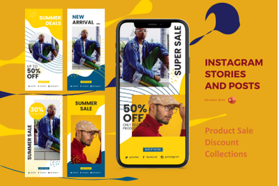 Product discount collection instagram stories and posts powerpoint tem