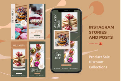 New sale collections instagram stories and posts powerpoint template