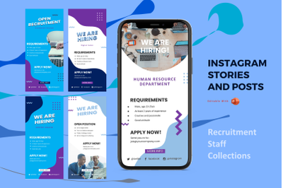 Recruitment staff instagram stories and posts powerpoint template