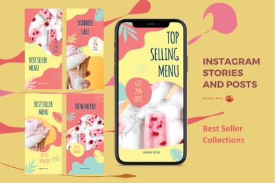 Best seller menu instagram stories and posts powerpoint template