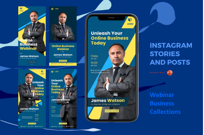 Webinar business instagram stories and posts powerpoint template