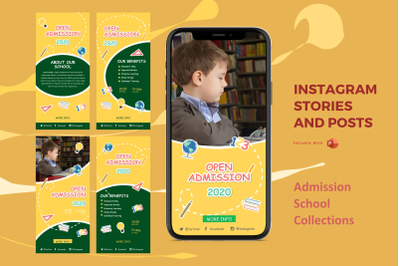 Back to school instagram stories and posts powerpoint template