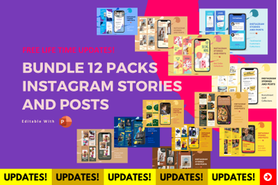 Best Deal! 12 bundle instagram stories and posts for content marketing