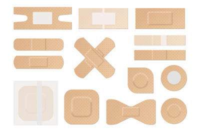 Medical plaster. Realistic water resistant perforated medical plasters