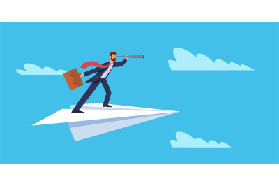 Business vision. Businessman flying on paper plane with telescope, suc