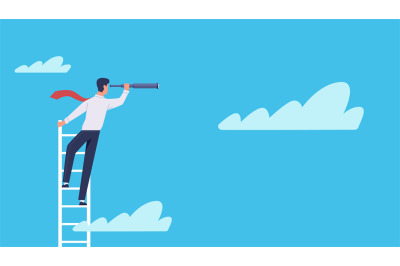 Business vision. Businessman stands on ladder in clouds with telescope