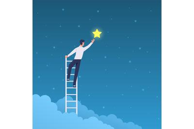 Businessman success. Man on ladder reaches stars on sky. Achieve goal