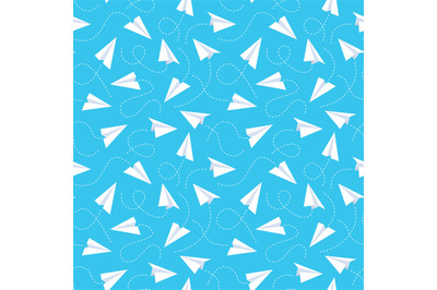 Paper plane seamless pattern. White flying airplanes and dotted line t