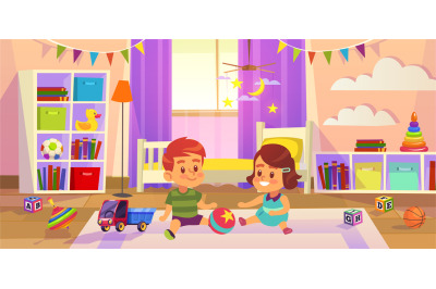 Baby room. Children play on the floor children toys, family lifestyle