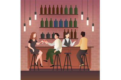 Bar counter. Man and woman on date with drink in bar, People sitting i
