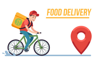 Bicycle with delivery man. Fast courier with pizza, cyclist rides on r