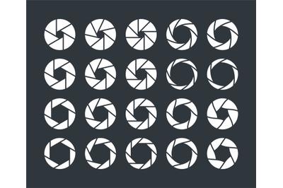 Camera lens diaphragm. Optical lenses, shutter aperture pictogram. Col