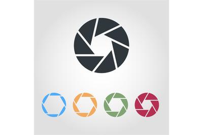 Camera Shutter Icons. Optical lenses, shutter aperture pictogram. Coll