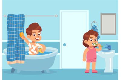 Cartoon bath. Children take water treatments. Boy washes with shampoo,