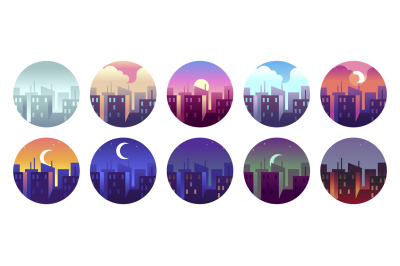 City circular landscapes. Dawn morning city sunny day and evening suns