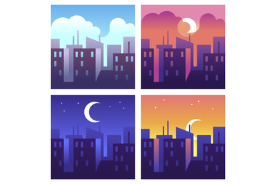 City day times. Morning and noon, evening and night cityscape, buildin