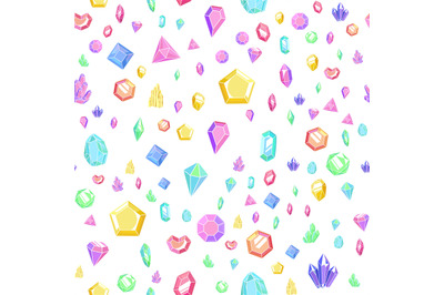 Crystal and gem seamless pattern. Bright texture with crystals and gem