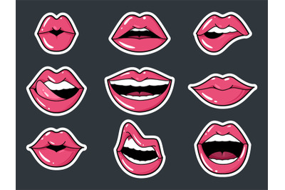 Lip Stickers Set. Patch female lips and mouth with a kiss, smile, tong