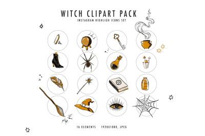 Witch magic clipart, ritual altars, shrines digital kit