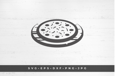 Pizza fast food silhouette vector illustration