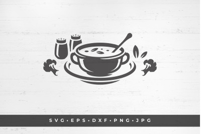 Vegetarian soup in plate silhouette