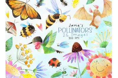 Watercolor Pollinators Set