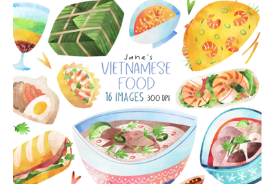 Watercolor Vietnamese Food Set