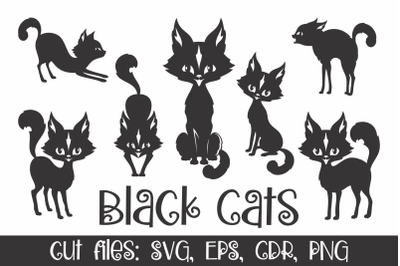 Black cats silhouettes. Vector clip art