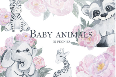 Baby animals in peonies