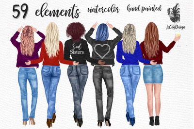 Best friends clipart Girls back view Custom girls Jeans Girls