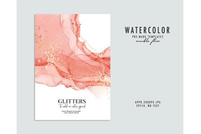 Watercolor resin art printing, fine art alcohol ink rose gold