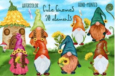 Cute Gnomes clipart Forest Gnomes Fairy tale gnomes