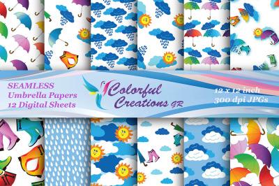 Umbrella Set Digital Papers, SEAMLESS, Suns, Clouds, Rainboots, Umbrel