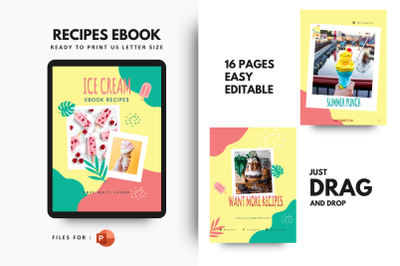 Ice cream recipes cookbook template powerpoint