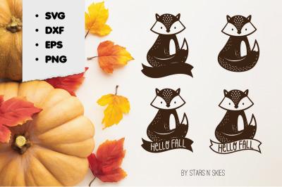 Hello Fall Autumn Sitting Fox Forest Animal Cut-File