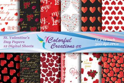 Valentines Day Digital Papers, Valentines  Scrapbook Papers, Valentine