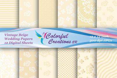 Wedding Digital Papers, Vintage Wedding Paper Set, Lace Pattern, Invit