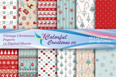 Christmas Digital Papers, Vintage Christmas Digital Papers, Christmas
