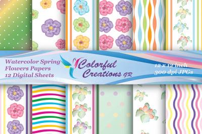 Watercolor Spring Flowers, Floral Pattern Digital Papers, Spring Digi