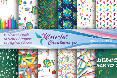 Welcome Back to School Digital Papers, Teacher Scrapbooking Papers, Cl