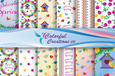 Welcome Spring Digital Papers, Floral Pattern, Spring, Stripes, Curly