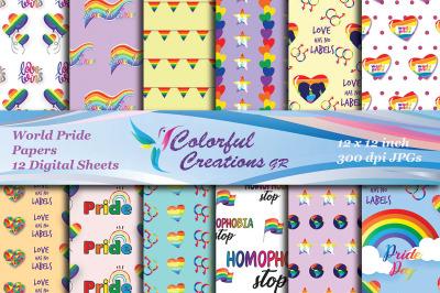 World Pride Digital Papers, Gay Pride Digital Images, Rainbow Scrapboo
