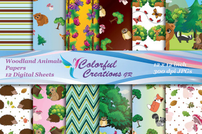 Woodland Animals Digital Papers, Forest Animals Scrapbook Papers, Woo